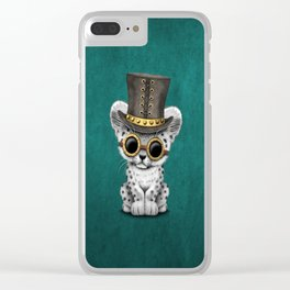 Steampunk Snow Leopard Cub on Blue Clear iPhone Case