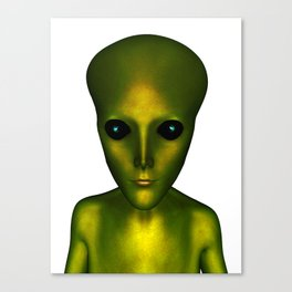 Alien Head and Shoulders Green Scaled Creature Canvas Print