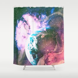 Space Earth Watercolor Shower Curtain