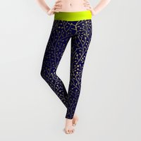 line Leggings featuring Gold Berry Branches on Navy by Cat Coquillette