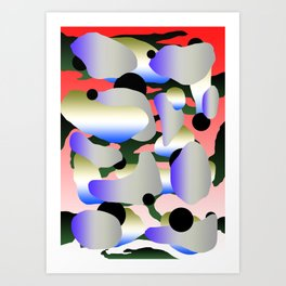 Camouflage and Circles II Art Print