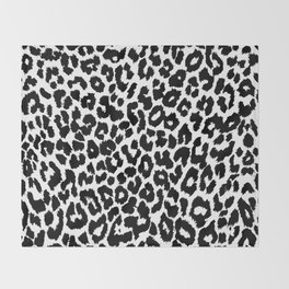 Leopard Pattern (Black and White) Throw Blanket