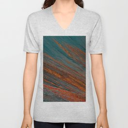 Red and blue turquoise mountain slope Unisex V-Neck