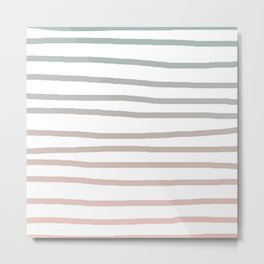 Simply Drawn Stripes in Coral Peach Sea Green Gradient Metal Print