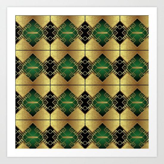 Vintage Art Decó Pattern Art Print