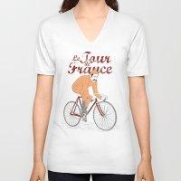 tour de france V-neck T-shirts featuring tour de france by cikuta