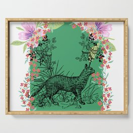 Geometric Clemson Tiger - tigers in Garden - green background Serving Tray
