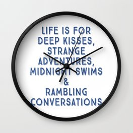 Life Is For Deep Kisses, Classic Blue Palette 2 Wall Clock