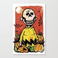charlie brown Canvas Prints featuring Charlie Brown - The Original Pumpkin King by Neil McKinney