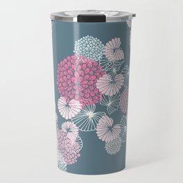 Floral Seamless Pattern on Blue Travel Mug