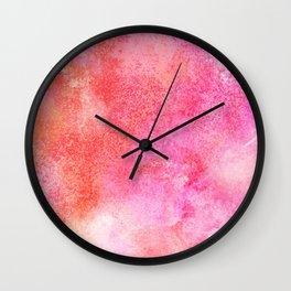 Abstract blush pink lilac orange hand painted watercolor Wall Clock