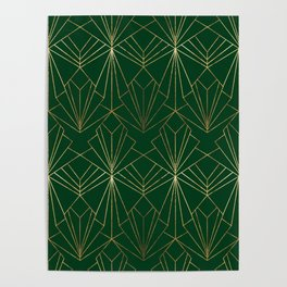 Art Deco in Gold & Green Poster