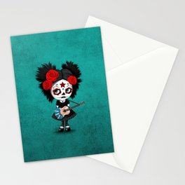 Day of the Dead Girl Playing Newfoundland Flag Guitar Stationery Cards