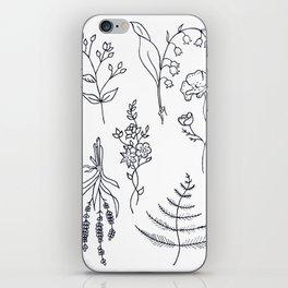 Lavender, Ferns, & Wildflowers Illustration iPhone Skin