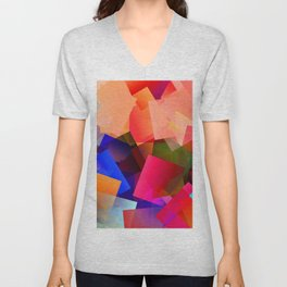 Play with transparent cubes and plates Unisex V-Neck