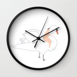 Swan and Her Girl Wall Clock