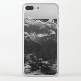 Black & White Sea Waves Photography Art Print Clear iPhone Case