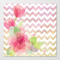 Chevron Flowers Canvas Print