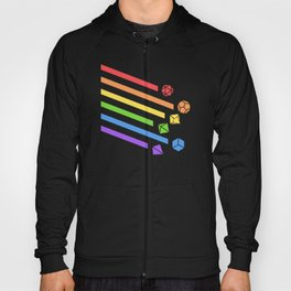 Falling Dice Set Ray Slaying Dragons in Dungeons DnD Tabletop RPG LGBT Pride Hoody