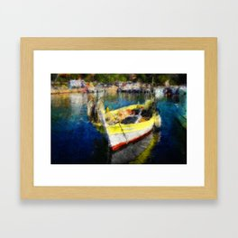 The Yellow Fisher Boat Framed Art Print
