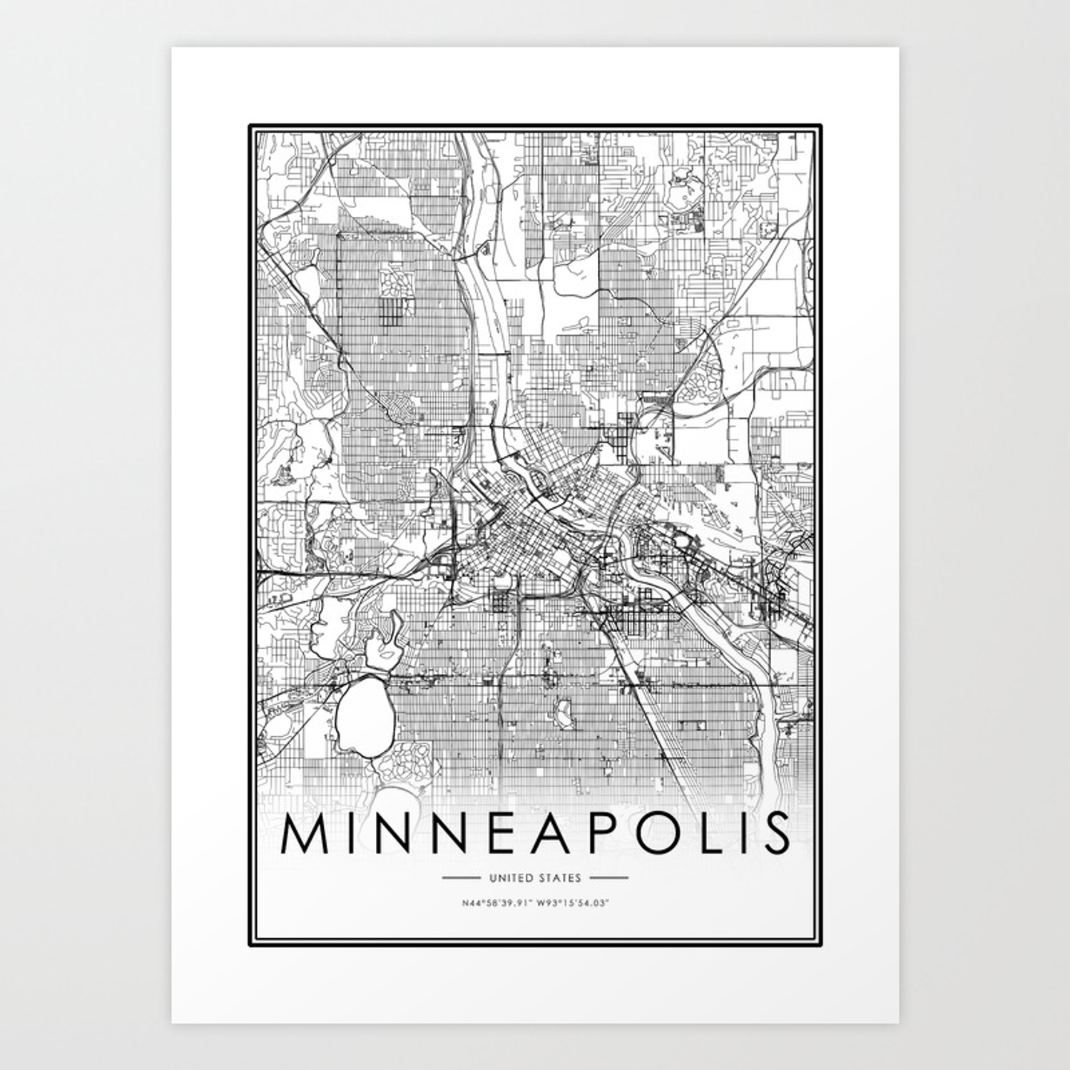 Minneapolis City Map United States White and Black Art Print