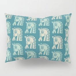 Mid Century Horse Pattern Green and Beige Pillow Sham