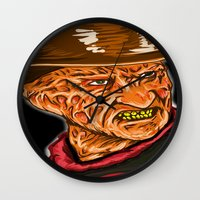 freddy krueger Wall Clocks featuring Freddy Krueger by Art of Fernie