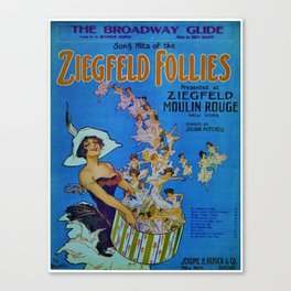 Vintage 1924 Ziegfeld Follies Moulin Stage Theater Advertisement Poster Canvas Print