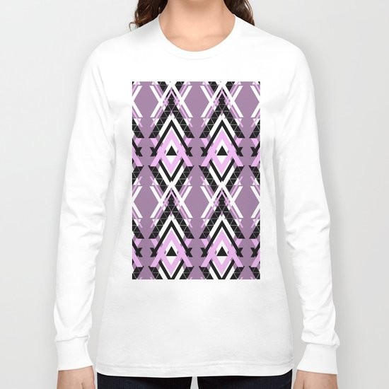Geometric Columns - Pastel Purple Triangles Pattern Long Sleeve T-shirt