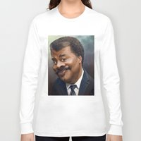 neil gaiman Long Sleeve T-shirts featuring Neil Degrasse Tyson Caricature by Jared Hobson