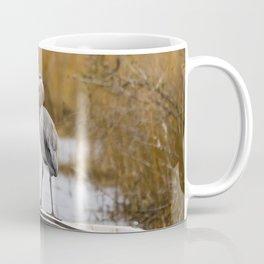 Great Blue Heron on Fishing Boat Coffee Mug