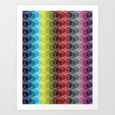 Hexagon Shades / Pattern #6 Art Print