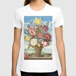 Ambrosius Bosschaert - Bouquet of Flowers on a Ledge T-shirt