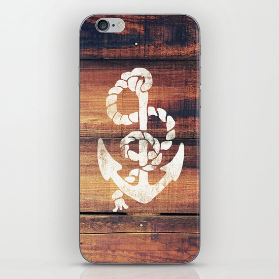 Vintage Nautical Anchor White on Brown Wood Grain iPhone Skin