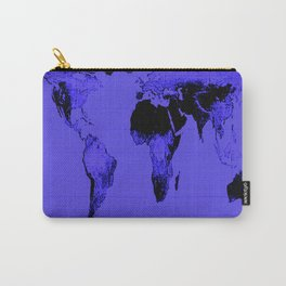 World Map: Gall Peters Indigo Purple Carry-All Pouch