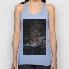 Still life with fruits, oysters and a porcelain bowl, Abraham Mignon (1660 - 1679) Unisex Tank Top