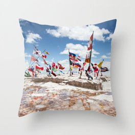Salar de Uyuni International Flags Throw Pillow