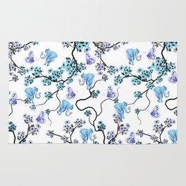 Modern lavender teal floral elephant butterfly pattern Rug