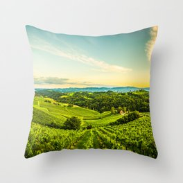 Vineyards landscape panorama. South Styria, Austria Throw Pillow