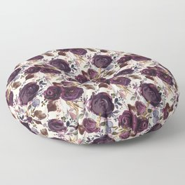 Small Burgundy Blossom Bouquets on Soft Pink  Floor Pillow