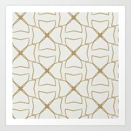 Gold and Cream Clovers Art Print