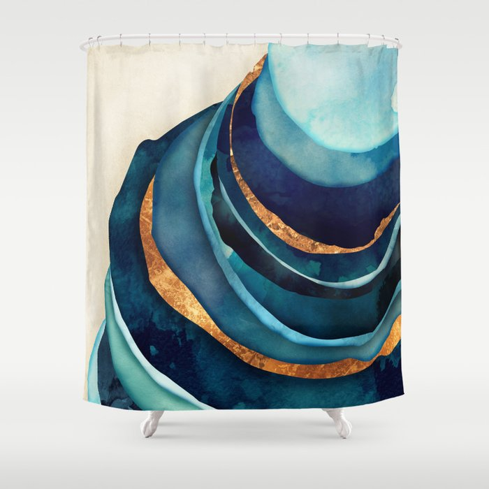 Abstract Blue With Gold Shower Curtain