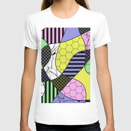Pastel Collage - Multi patterned, abstract, pastel themed geometric art T-shirt