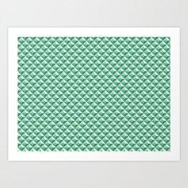 Green Triangles Pattern Art Print