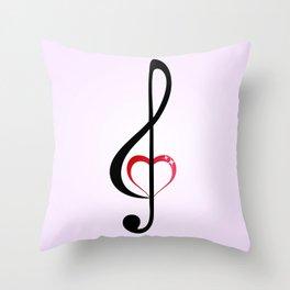 Heart music clef Throw Pillow