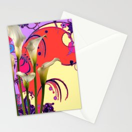 Modern Art White Calla Lilies Fantasy Garden Flowers Stationery Cards
