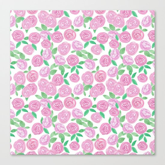 Pale pink roses . Watercolor . Canvas Print