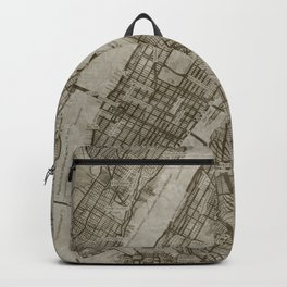 Warm Putty Beige Decor, Manhattan New York City, Antique Vintage Map Backpack