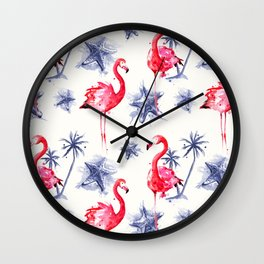 Beach Flamingos Wall Clock