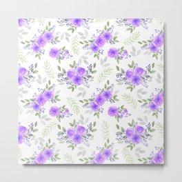 Hand painted violet lilac green watercolor peonies floral Metal Print